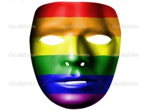 Gay pride flag painted on theater plastic mask