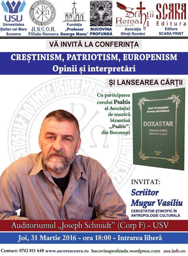 afis 2 mugur vasiliu - crestinism patriotism europenism 31 mart 2016