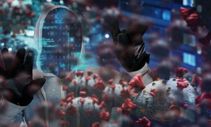 Digital illustration of macro Covid-19 cells floating over a man wearing a hoodie and a black face mask with data on it. Coronavirus Covid-19 pandemic concept digital composite